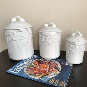 3Pc. Ceramic Leaf Patterned Kitchen Canisters